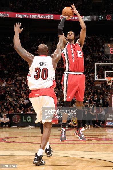 LaMarcus Aldridge of the Portland Trail Blazers shoots against Reggie Evans of the Toronto Raptors during the game on February 24 2010 at Air Canada...