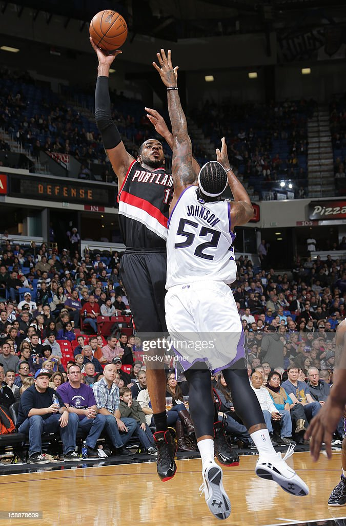 <a gi-track='captionPersonalityLinkClicked' href=/galleries/search?phrase=LaMarcus+Aldridge&family=editorial&specificpeople=453277 ng-click='$event.stopPropagation()'>LaMarcus Aldridge</a> #12 of the Portland Trail Blazers shoots over James Johnson #52 of the Sacramento Kings on December 23, 2012 at Sleep Train Arena in Sacramento, California.