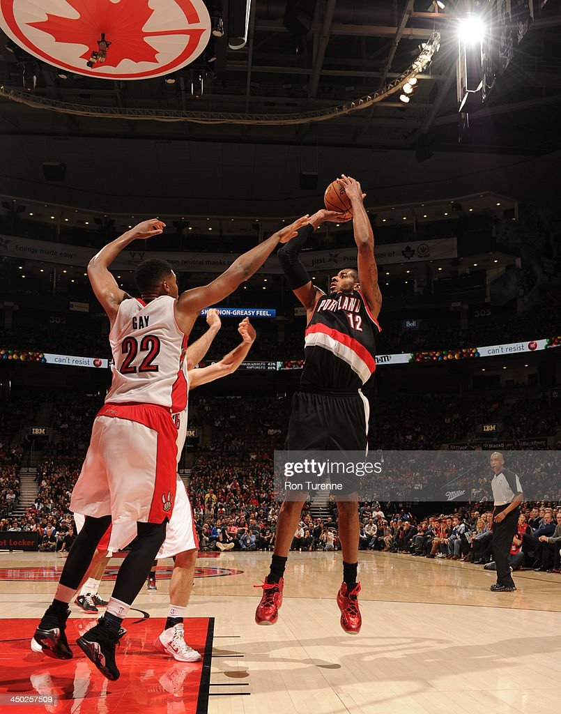 <a gi-track='captionPersonalityLinkClicked' href=/galleries/search?phrase=LaMarcus+Aldridge&family=editorial&specificpeople=453277 ng-click='$event.stopPropagation()'>LaMarcus Aldridge</a> #12 of the Portland Trail Blazers shoots the ball against the Toronto Raptors during the game on November 17, 2013 at the Air Canada Centre in Toronto, Ontario, Canada.