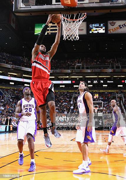 LaMarcus Aldridge of the Portland Trail Blazers slam dunks the ball against the Phoenix Suns during the NBA game at US Airways Center on November 21...