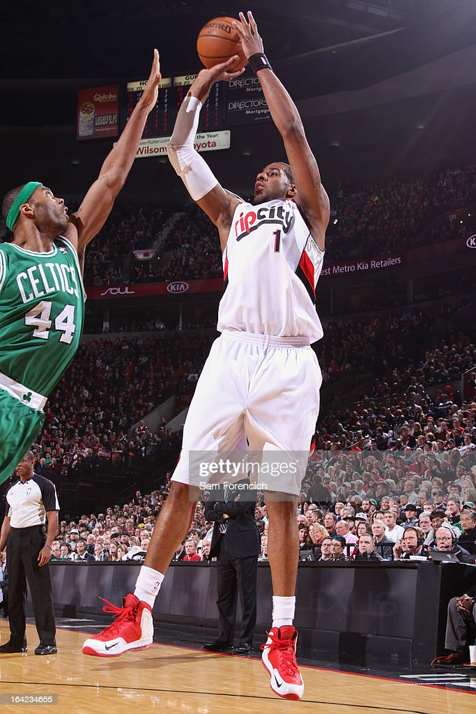 LaMarcus Aldridge #12 of the Portland Trail Blazers takes a shot against the Boston Celtics on February 24, 2013 at the Rose Garden Arena in Portland, Oregon.