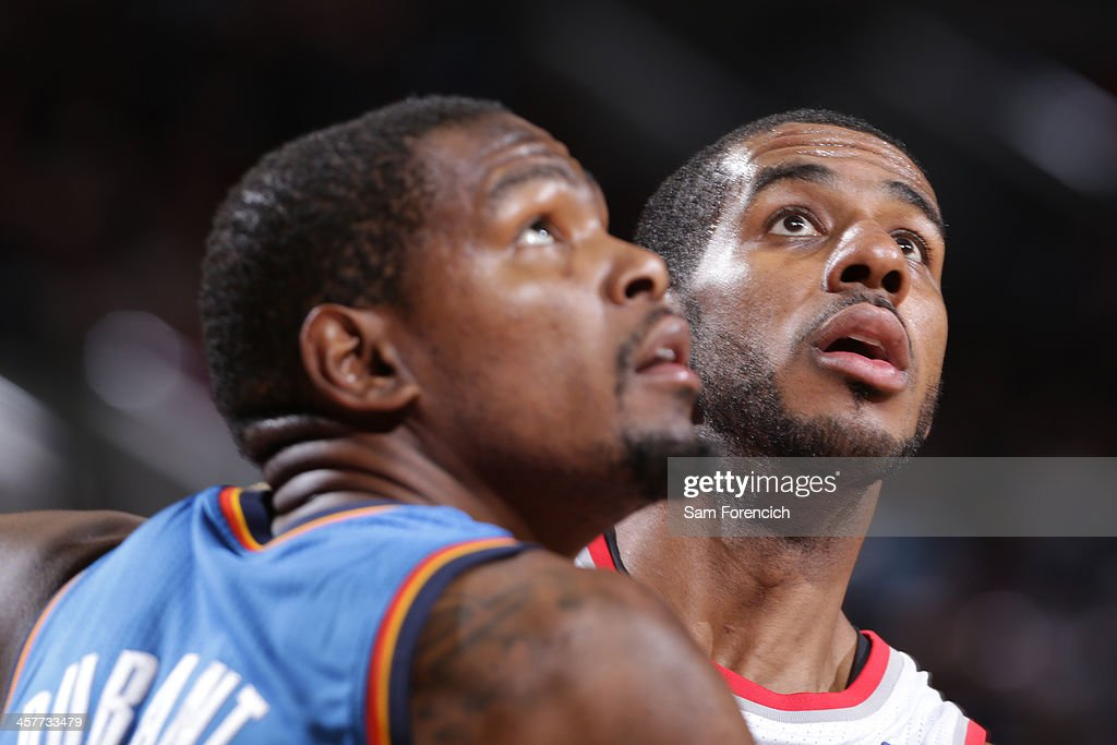 <a gi-track='captionPersonalityLinkClicked' href=/galleries/search?phrase=LaMarcus+Aldridge&family=editorial&specificpeople=453277 ng-click='$event.stopPropagation()'>LaMarcus Aldridge</a> #12 of the Portland Trail Blazers waits for a rebound against the Oklahoma City Thunder on December 4, 2013 at the Moda Center Arena in Portland, Oregon.