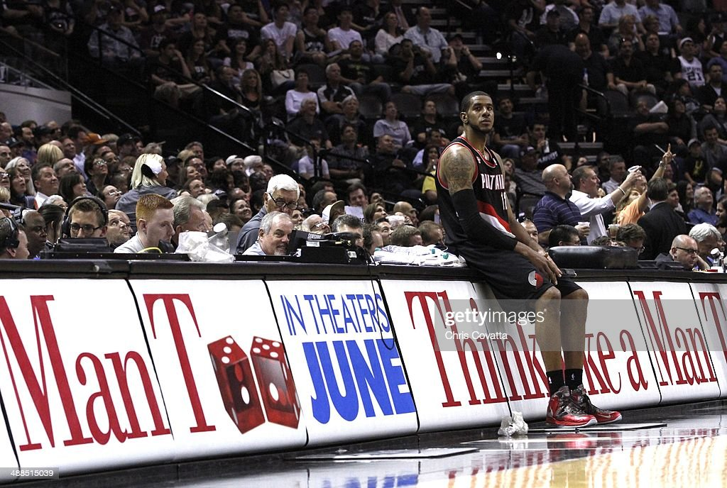 <a gi-track='captionPersonalityLinkClicked' href=/galleries/search?phrase=LaMarcus+Aldridge&family=editorial&specificpeople=453277 ng-click='$event.stopPropagation()'>LaMarcus Aldridge</a> #12 of the Portland Trail Blazers waits for the play to resume as his team plays the San Antonio Spurs in Game One of the Western Conference Semifinals during the 2014 NBA Playoffs at the AT&T Center on May 6, 2014 in San Antonio, Texas.