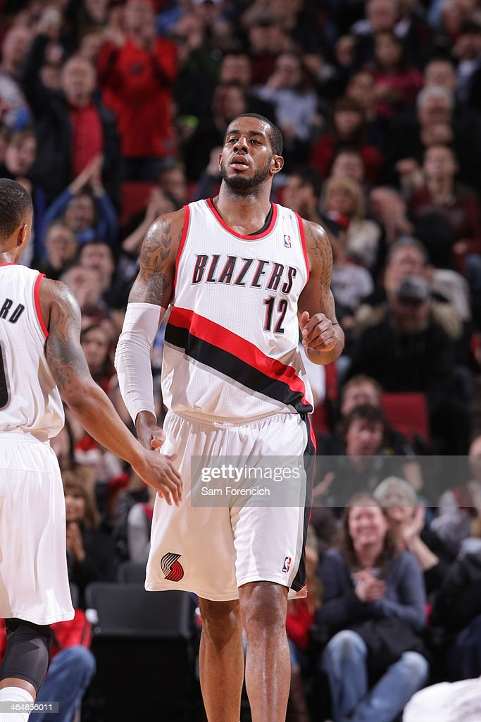 <a gi-track='captionPersonalityLinkClicked' href=/galleries/search?phrase=LaMarcus+Aldridge&family=editorial&specificpeople=453277 ng-click='$event.stopPropagation()'>LaMarcus Aldridge</a> #12 of the Portland Trail Blazers walks off the court against the Denver Nuggets on January 23, 2014 at the Moda Center Arena in Portland, Oregon.