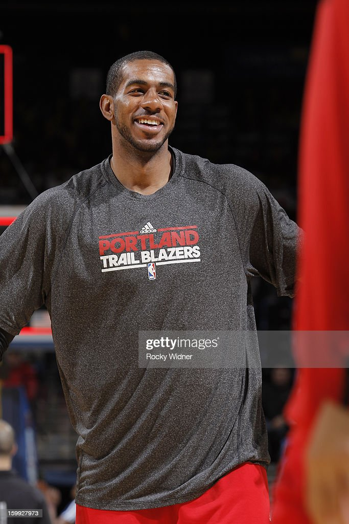 <a gi-track='captionPersonalityLinkClicked' href=/galleries/search?phrase=LaMarcus+Aldridge&family=editorial&specificpeople=453277 ng-click='$event.stopPropagation()'>LaMarcus Aldridge</a> #12 of the Portland Trail Blazers warms up before a game against the Golden State Warriors on January 11, 2013 at Oracle Arena in Oakland, California.