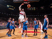 LaMarcus Aldridge of the Portland Trailblazers dunks the ball against the Philadelphia 76ers at the Moda Center Arena in Portland Oregon NOTE TO USER...