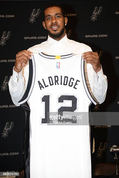 LaMarcus Aldridge of the San Antonio Spurs attends a press conference on July 10 2015 at the San Antonio Spurs Practice Facility in San Antonio Texas...