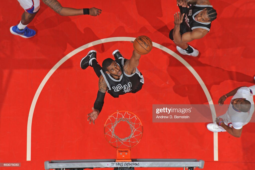 LaMarcus Aldridge #12 of the San Antonio Spurs grabs the rebound against the LA Clippers on February 24, 2017 at STAPLES Center in Los Angeles, California.