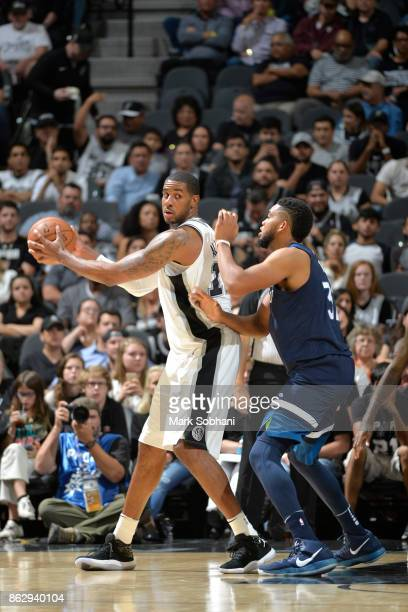 LaMarcus Aldridge of the San Antonio Spurs handles the ball against the Minnesota Timberwolves on October 18 2017 at the ATT Center in San Antonio...