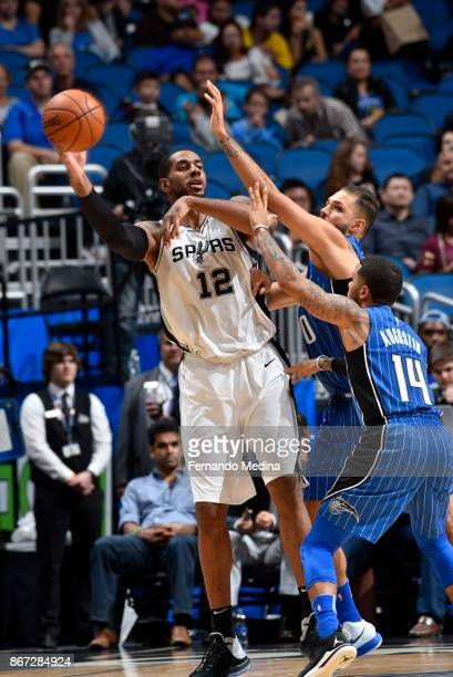 LaMarcus Aldridge of the San Antonio Spurs passes the ball against the Orlando Magic on October 27 2017 at Amway Center in Orlando Florida NOTE TO...
