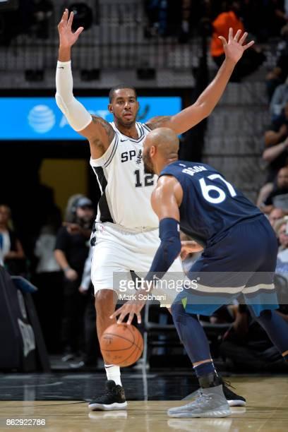 LaMarcus Aldridge of the San Antonio Spurs plays defense against the Minnesota Timberwolves on October 18 2017 at the ATT Center in San Antonio Texas...