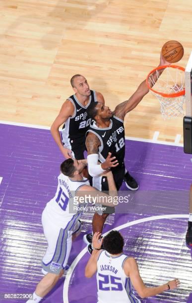 LaMarcus Aldridge of the San Antonio Spurs rebounds against the Sacramento Kings on October 2 2017 at Golden 1 Center in Sacramento California NOTE...