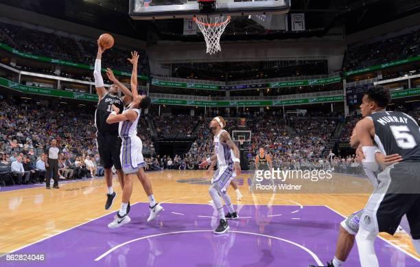 LaMarcus Aldridge of the San Antonio Spurs shoots against the Sacramento Kings on October 2 2017 at Golden 1 Center in Sacramento California NOTE TO...