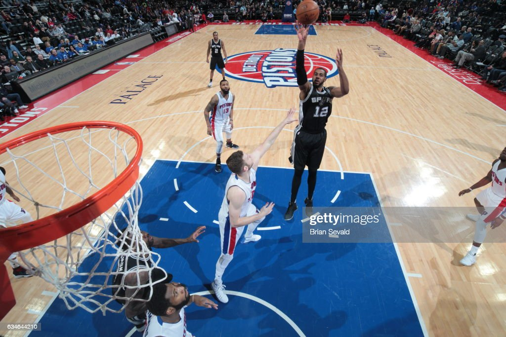 LaMarcus Aldridge #12 of the San Antonio Spurs shoots the ball against the Detroit Pistons on February 10, 2017 at The Palace of Auburn Hills in Auburn Hills, Michigan.