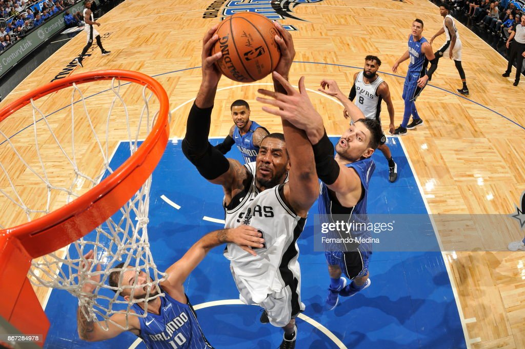 LaMarcus Aldridge #12 of the San Antonio Spurs shoots the ball against the Orlando Magic on October 27, 2017 at Amway Center in Orlando, Florida.