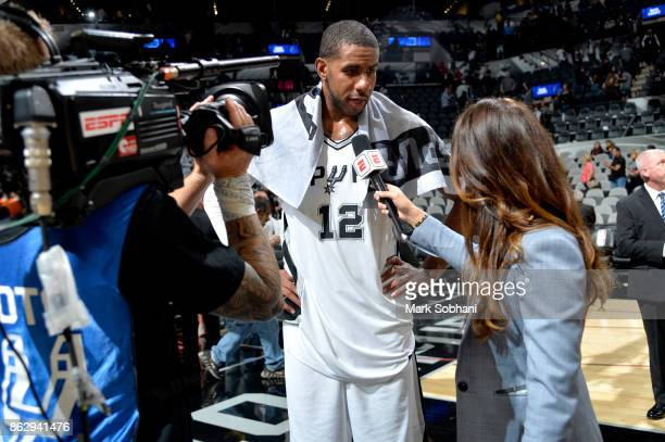 LaMarcus Aldridge of the San Antonio Spurs speaks to the media after the game against the Minnesota Timberwolves on October 18 2017 at the ATT Center...