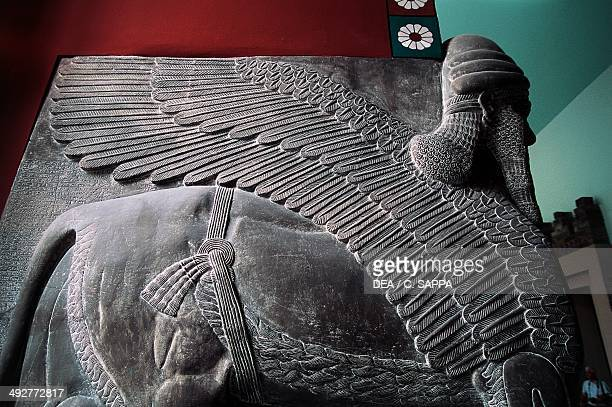 Lamassu relief from Nineveh near Mosul Iraq Assyrian civilization Detail Berlin Pergamonmuseum