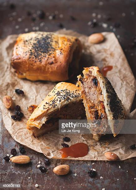 Lamb, almond andharissa sausage rolls
