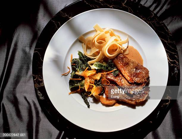 Lamb Chops with Pasta and Vegetables