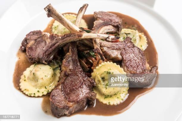 Lamb chops with ravioli