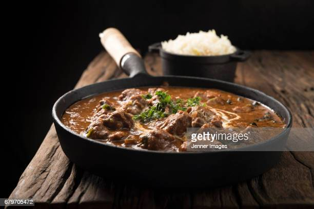 Lamb Curry Meal Served In A Cooking Pan.