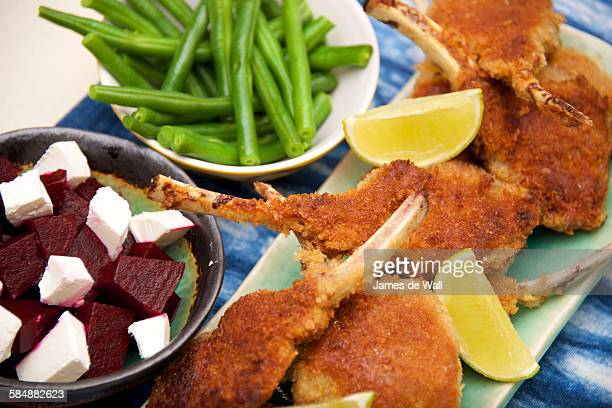 Lamb cutlets with spiced beetroot & feta salad