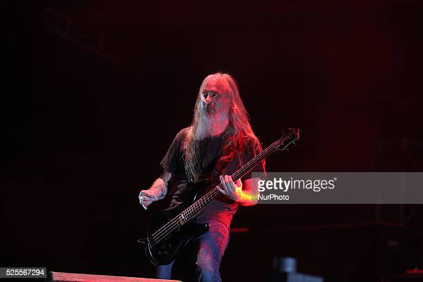 Lamb Of God bassist John Campbell performs during Hammersonic 2015 in Jakarta Indonesia on March 9 2015 American groove metal band from Richmond...