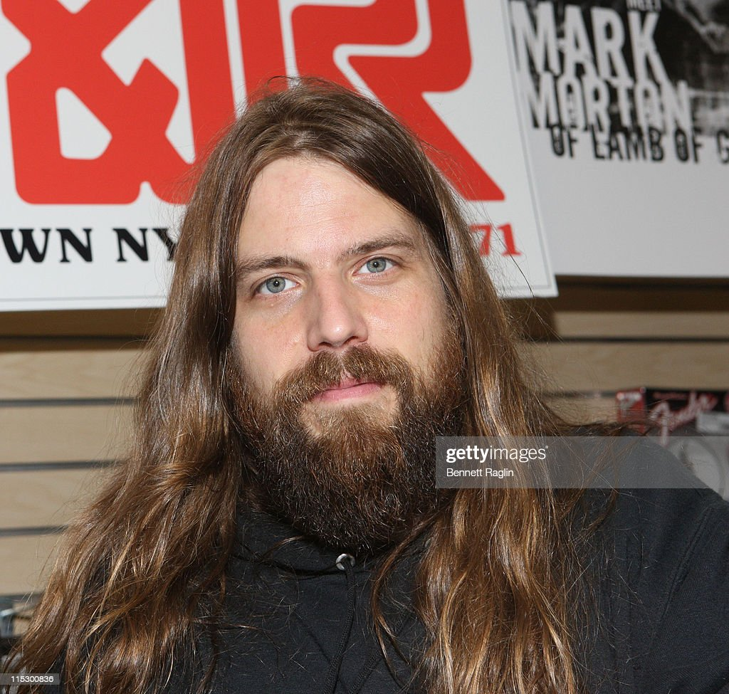 <a gi-track='captionPersonalityLinkClicked' href=/galleries/search?phrase=Lamb+of+God+-+Banda&family=editorial&specificpeople=207713 ng-click='$event.stopPropagation()'>Lamb of God</a> guitarist Mark Morton visits J&R Music And Computer World on May 8, 2009 in New York City.