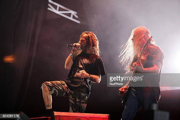 Lamb Of God Vocalist Randy Blythe and bassist John Campbell performs during Hammersonic 2015 in Jakarta Indonesia on March 9 2015 American groove...