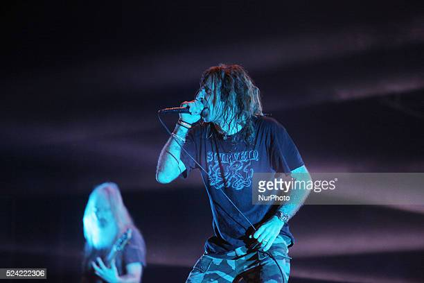 Lamb Of God Vocalist Randy Blythe performs during Hammersonic 2015 in Jakarta Indonesia on March 9 2015 American groove metal band from Richmond...