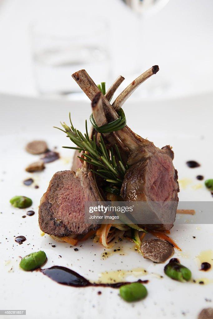 Lamb shanks on plate