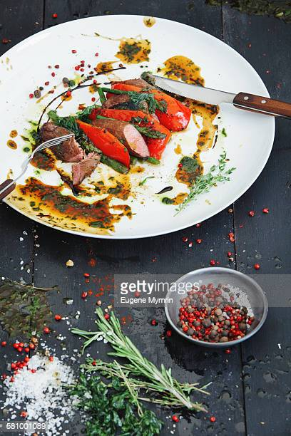 Lamb tenderloin with vegetables and demi-glace