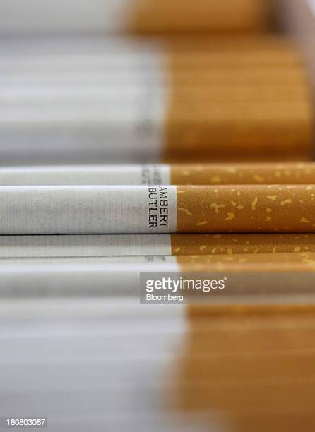 Lambert and Butler cigarettes manufactured by Imperial Tobacco Group Plc sit stacked ahead of packaging at the company's factory in Nottingham UK on...