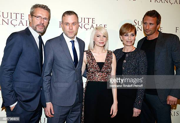 Lambert Wilson director Saul Dibb Michelle Williams Kristin Scott Thomas and Matthias Schoenaerts attend the world premiere of 'Suite Francaise' at...