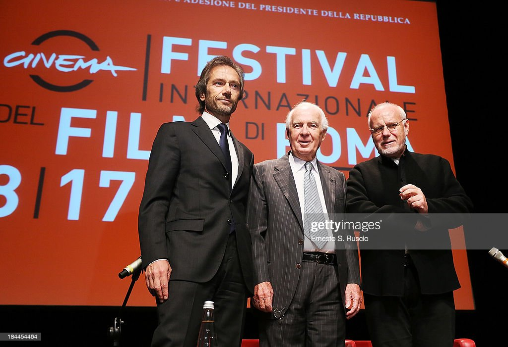 Lamberto Mancini, Paolo Ferrari and Marco Muller attend the 2013 Rome Film Festival press conference at Auditorium Parco Della Musica on October 14, 2013 in Rome, Italy.