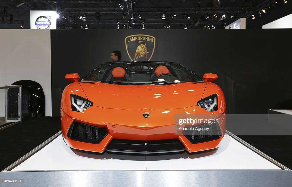 Lamborghini Aventador is displayed during the 2014 New York International Auto Show at the Jacob Javits Center New York, United States on April 17, 2014.