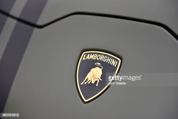 Lamborghini bonnet badge on display at the London Motor Show at Battersea Evolution on May 4 2017 in London England 41 dealerships and manufacturers...