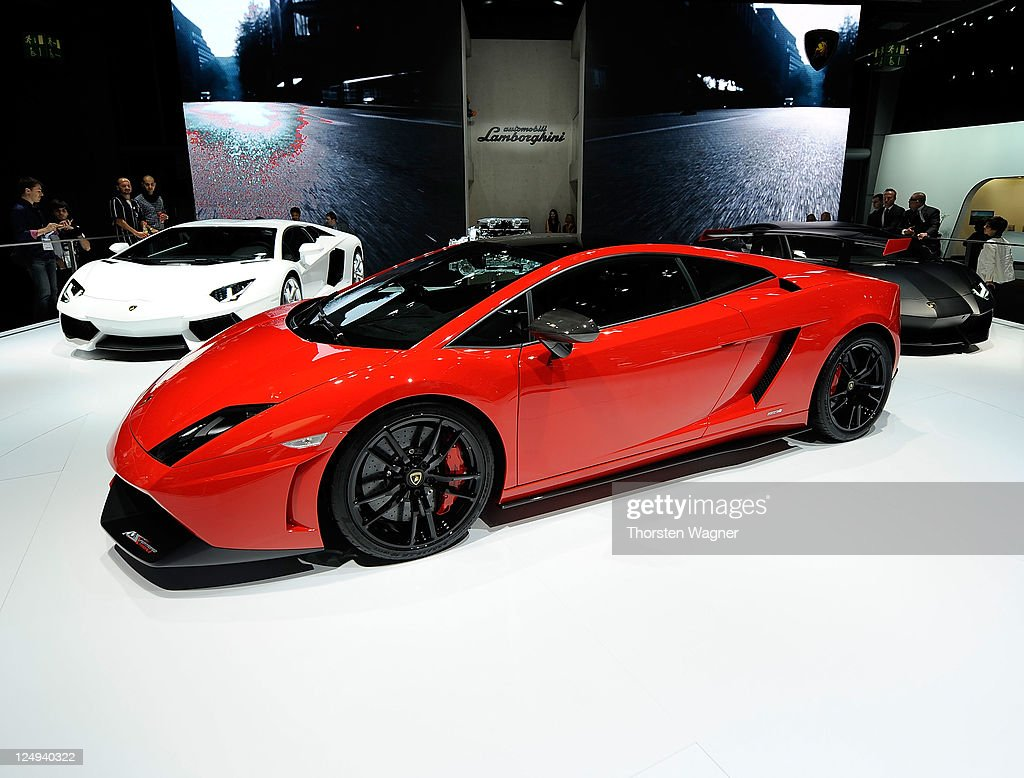 Lamborghini Gallardo is pictured during the press days at the IAA Frankfurt Auto Show on September 14 2011 in Frankfurt am Main Germany The IAA will...