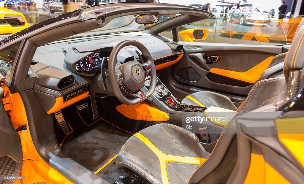 lamborghini huracan lp 610 4 spyder sports car interior stock photo