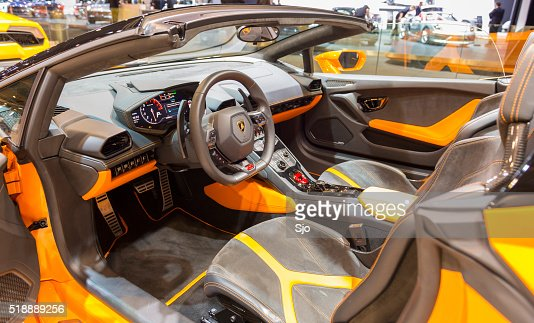 lamborghini huracan lp 610 4 spyder sports car interior stock photo