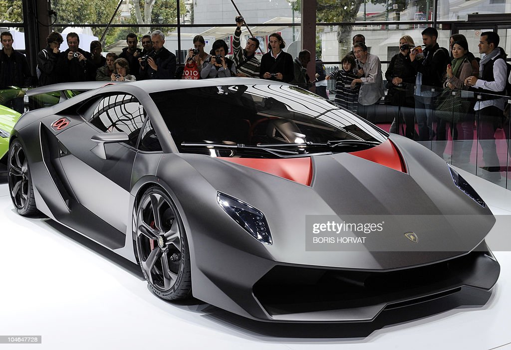 A Lamborghini is presented at the Paris Auto Show on October 1st on the event's opening day More than 300 brands of 20 countries attend this event...