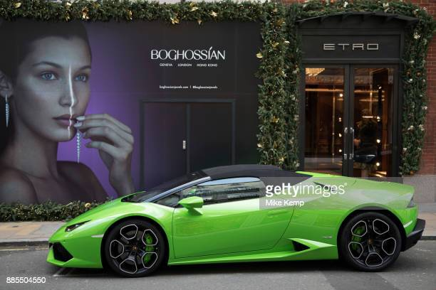Lamborghini supercar on Bond Street in London England United Kingdom Cars like this are often seen parked on this exclusive shopping street for the...