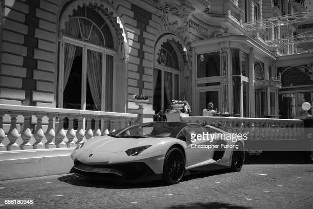 A Lambourghini super car sits outside The Carlton Hotel during the annual Cannes Film Festival at Palais des Festivals on May 20 2017 in Cannes...