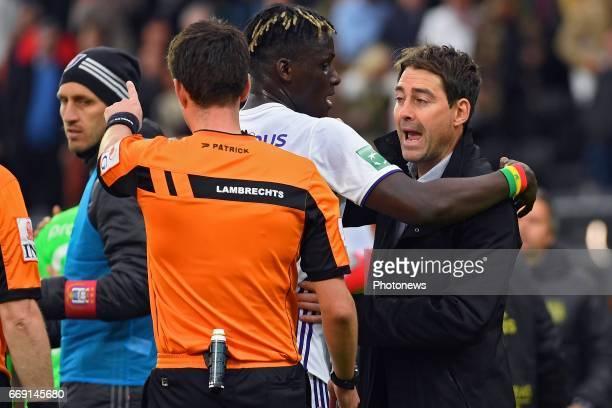 Lambrechts Erik referee Kara Serigne Modou Mbodji defender of RSC Anderlecht Rene Weiler head coach of RSC Anderlecht during the Jupiler Pro League...