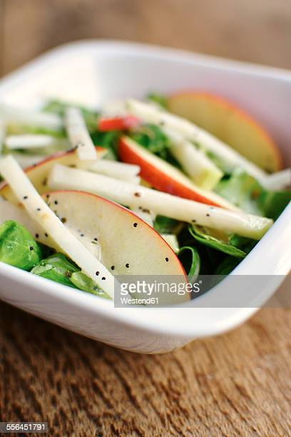 Lambs lettuce, kohlrabi and apple slices with a minty poppy seed dressing
