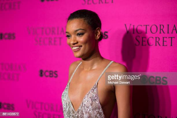 Lameka Fox attends the 2017 Victoria's Secret Fashion Show viewing party pink carpet at Spring Studios on November 28 2017 in New York City