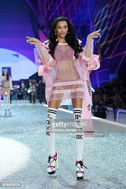 Lameka Fox walks the runway during the 2016 Victoria's Secret Fashion Show on November 30 2016 in Paris France