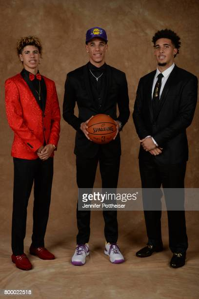 LaMelo Ball and LiAngelo Ball pose for a portrait with Lonzo Ball after being drafted number two overall to the Los Angeles Lakers during the 2017...