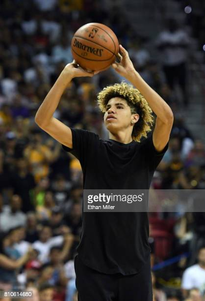 LaMelo Ball brother of Lonzo Ball of the Los Angeles Lakers shoots baskets as part of a promotion during a timeout of a 2017 Summer League game...