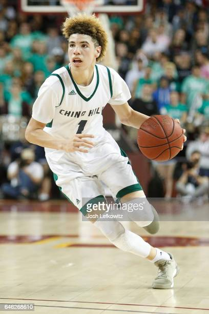 Lamelo Ball of Chino Hills High School brings the ball down court during the game against Mater Dei High School at the Galen Center on February 24...